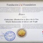 Braco primeşte titlul de Ambasador Mondial al Păcii și Luminii